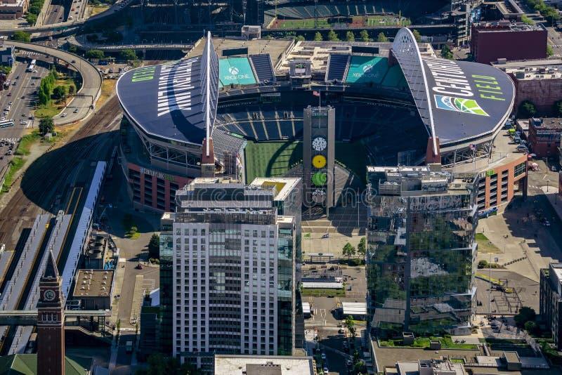 CenturyLink领域的鸟瞰图 库存照片