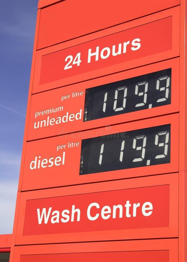 ceny benzyny paliwa znaku na posterunek zdjęcie royalty free