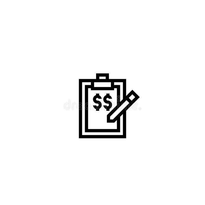Ceny listy ikona papier z piórem i ceny informaci symbolem prosty czysty cienki konturu stylu projekt royalty ilustracja