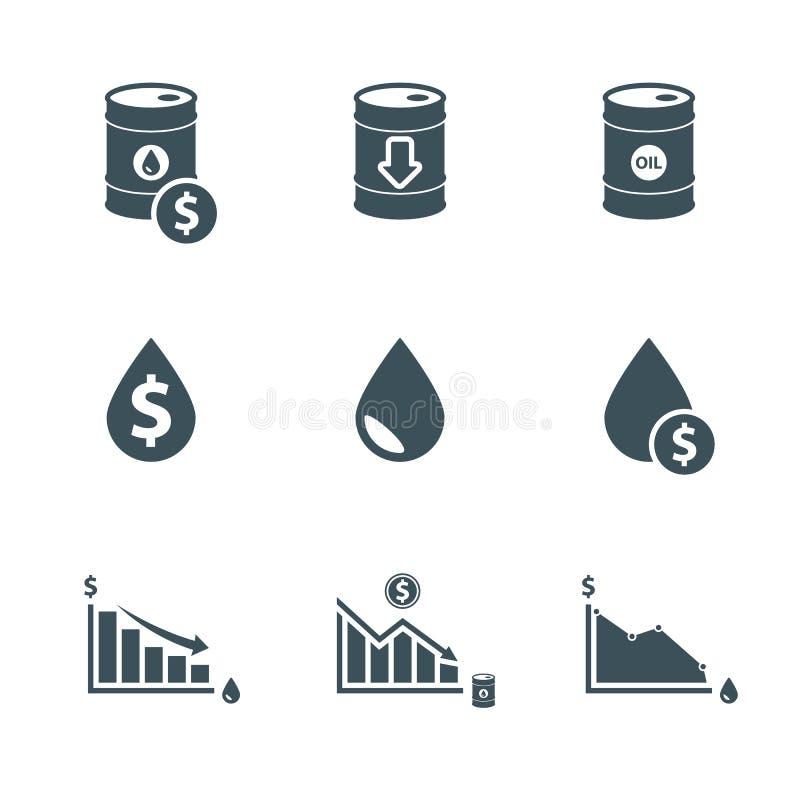Ceny ropy ikony set royalty ilustracja