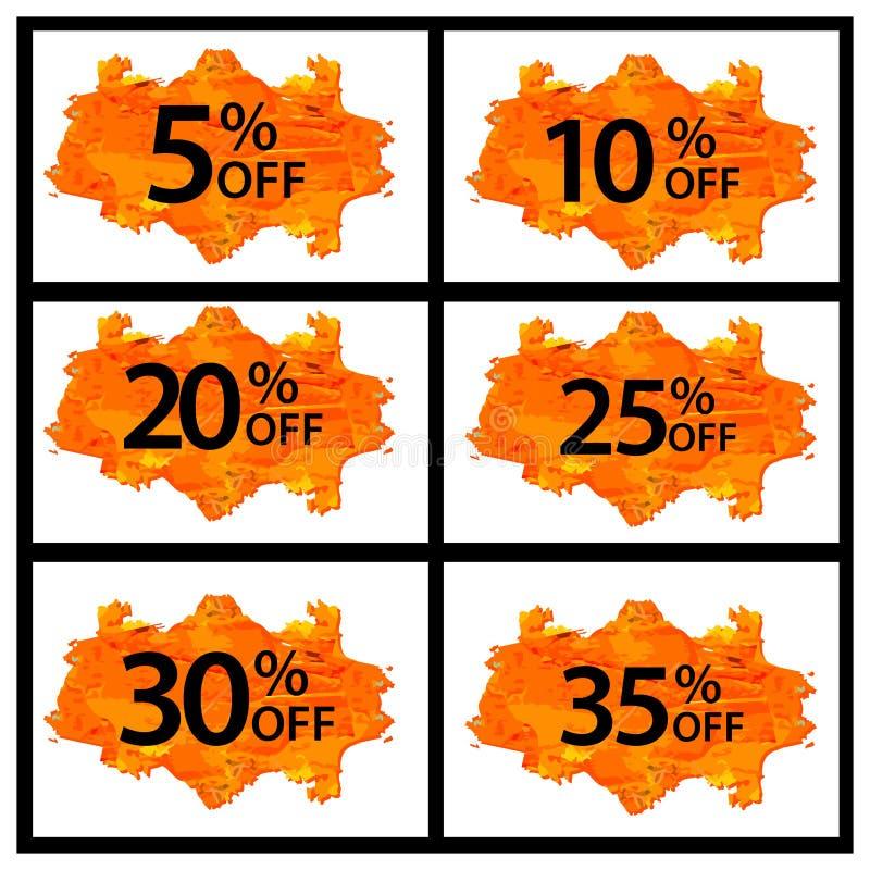 Ceny sprzedaży etykietki setu zapasu wektor Abstrakt dyskontowe ikony 5,10,20,25,30,35 procentów daleko ilustracji