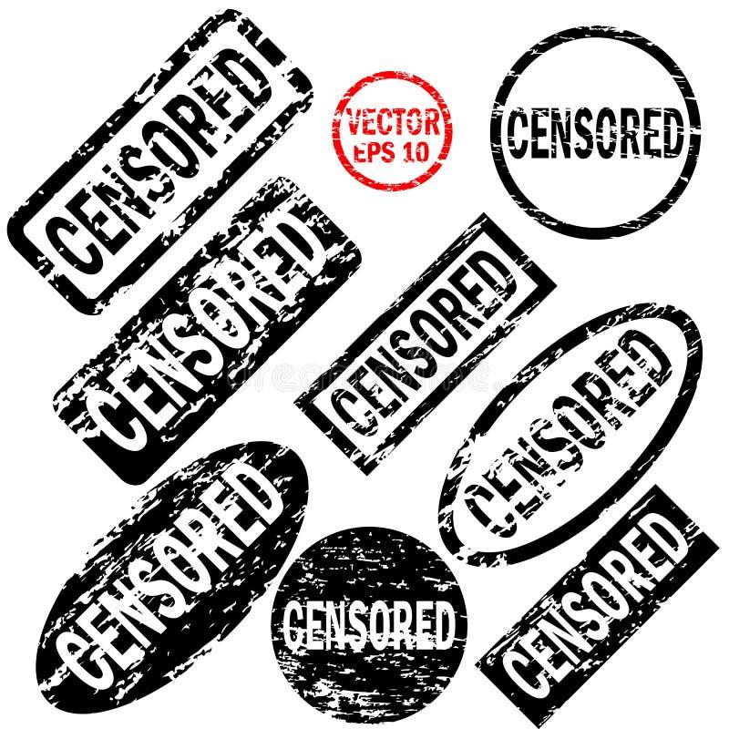Cenzurujący set czarne round i kwadratowe pieczątki ilustracja wektor