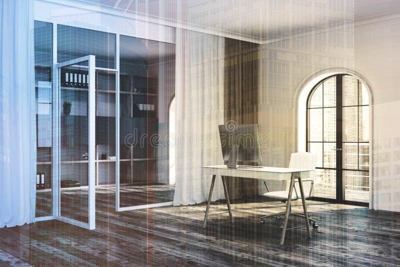 CEO办公室角落,被定调子的窗口 库存例证