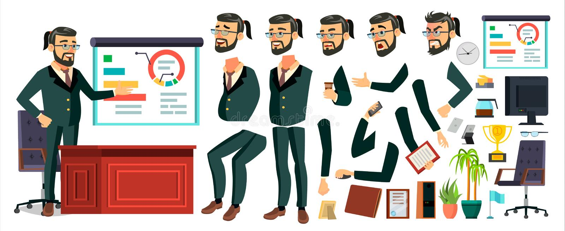 CEO商人字符传染媒介 工作的有胡子的CEO男性 现代办公室工作场所 首席执行官,一般 向量例证