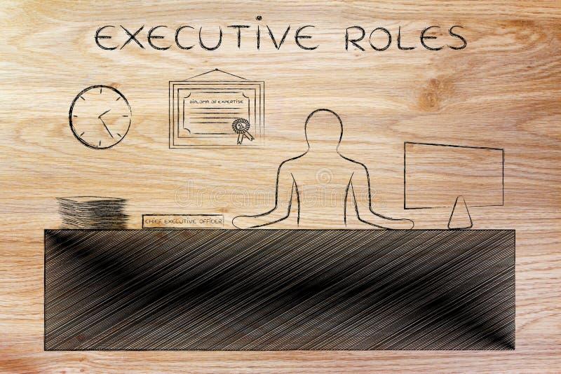 CEO (главный исполнительный директор) сидя на деятельности стола, ролях исполнительной власти титра стоковые фотографии rf