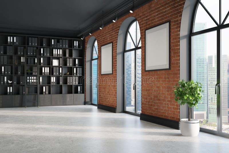 CEO-Büro, Bücherschrank und zwei Poster stock abbildung