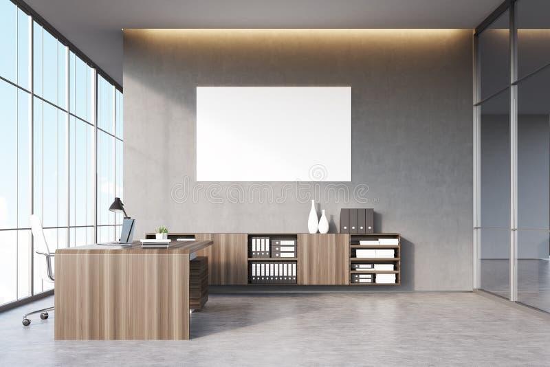 CEO-Büro mit dunklem Holzmöbel, panoramischem Fenster, einer Glaswand und einem Plakat auf einer grauen Betonmauer vektor abbildung