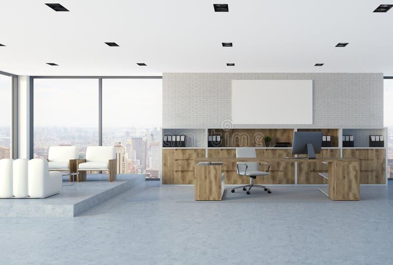 CEO bianco interno dell'ufficio, manifesto del muro di mattoni illustrazione vettoriale