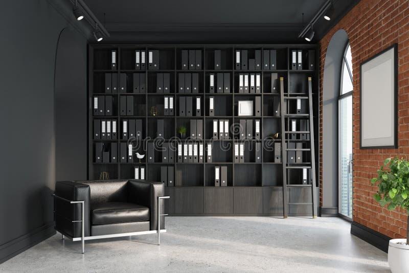 CEO bureau, boekenkast, leunstoel, ladder royalty-vrije illustratie