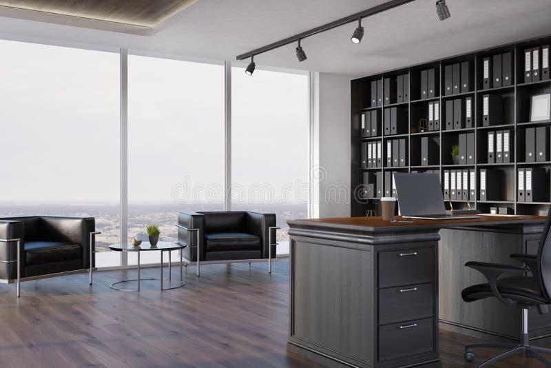 CEO bureaubinnenland, boekenkast, leunstoelen vector illustratie