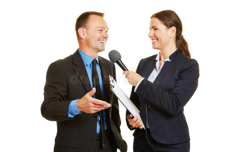 CEO of business company giving interview to the media stock image