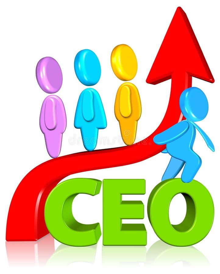 CEO con la carta de crecimiento ilustración del vector