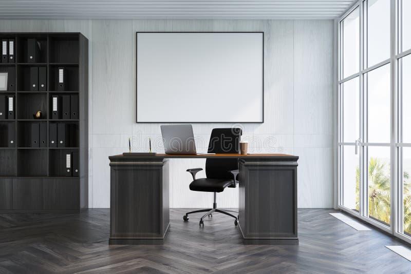 CEO di legno bianco interno dell'ufficio, manifesto royalty illustrazione gratis