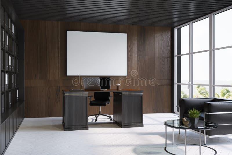 CEO di legno scuro interno dell'ufficio, manifesto, lato illustrazione di stock