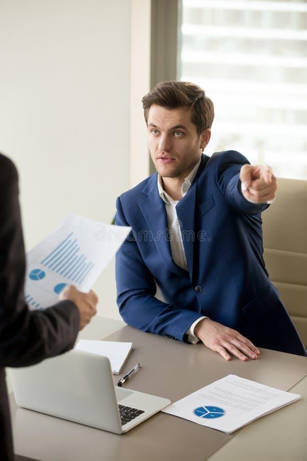 CEO die wegens fout in financieel verslag debatteren royalty-vrije stock foto