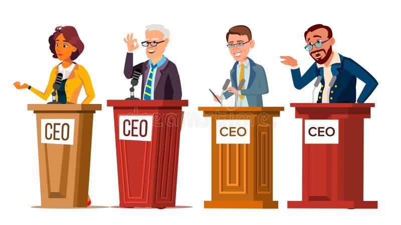 CEO do caráter que fala do vetor do grupo da tribuna ilustração stock
