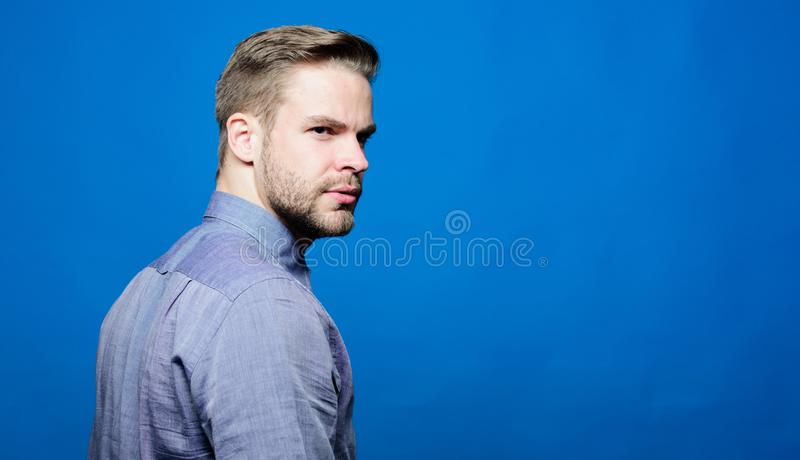 Ceo and employee. Man boss. Male fashion. unshaven man in shirt. businessman with confident look. business. Handsome royalty free stock photo