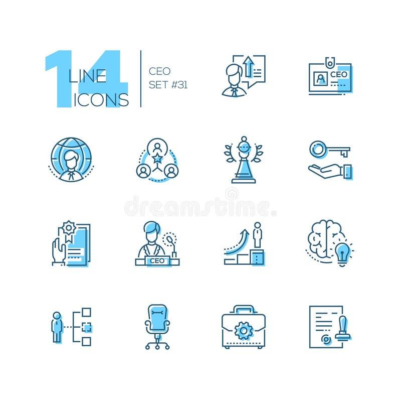 CEO - grupo de linha ícones do estilo do projeto ilustração royalty free