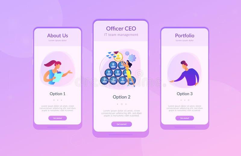 CEO het app interfacemalplaatje stock illustratie