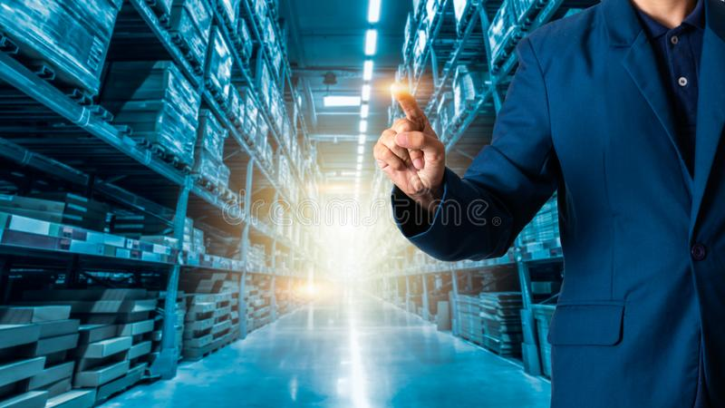 Businessman manager or CEO his fingers of logistics for workers royalty free stock photography