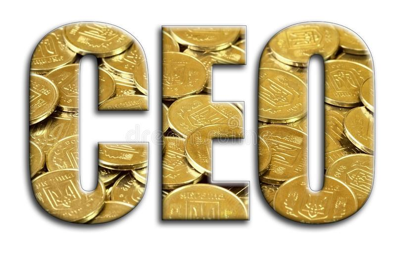CEO. The inscription has a texture of the photography, which depicts a lot of ukrainian coins.  stock illustration