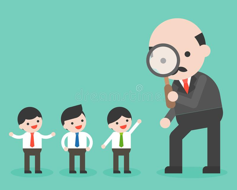CEO look through magnifying glass to group of tiny businessman, vector illustration