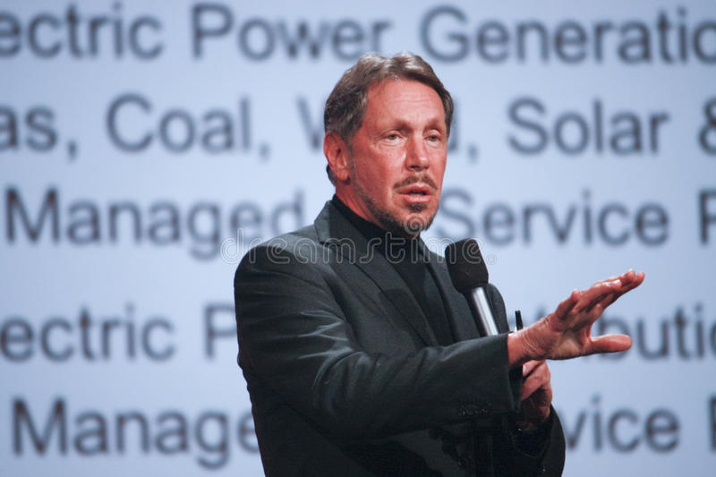 CEO of Oracle Larry Ellison. SAN FRANCISCO, CA, SEPT 30, 2012 - CEO of Oracle Larry Ellison makes his first speech at Oracle OpenWorld conference in Moscone royalty free stock image