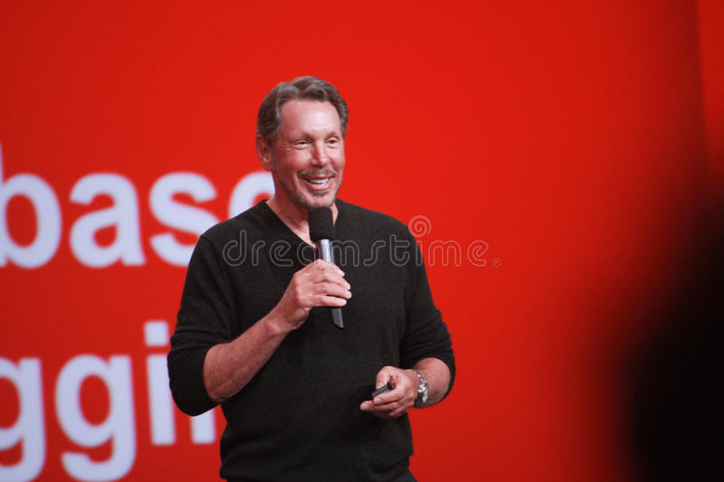 CEO of Oracle Larry Ellison makes his speech at Oracle OpenWorld conference. SAN FRANCISCO, CA, SEPT 22, 2013 - CEO of Oracle Larry Ellison makes his speech at stock photography