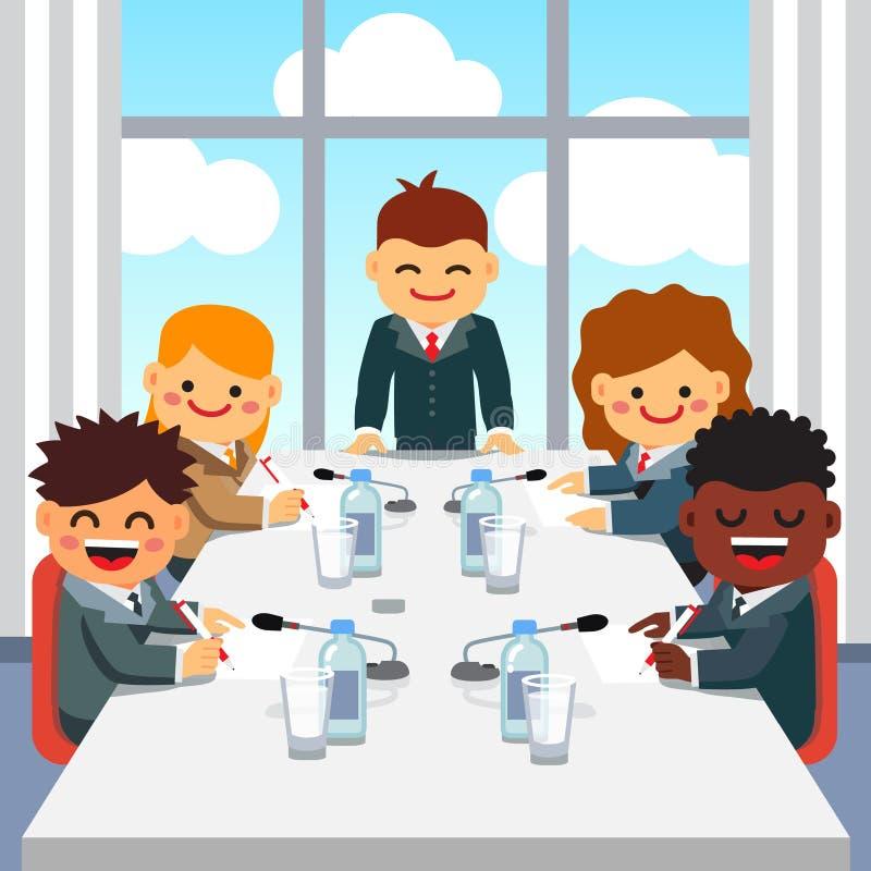 CEO que dá um discurso à equipe do executivo empresarial ilustração stock