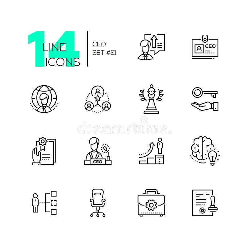 CEO - reeks de stijlpictogrammen van het lijnontwerp stock illustratie
