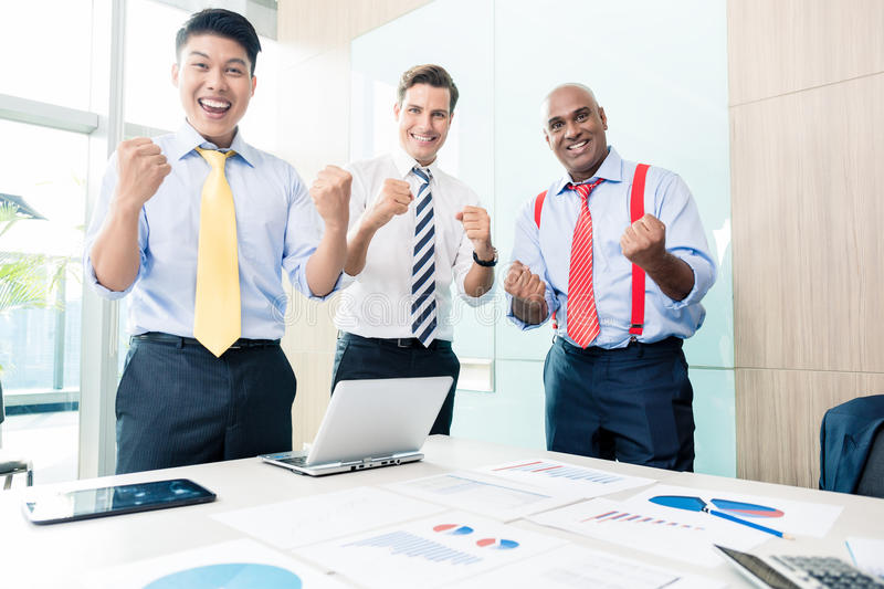 CEO reporting success in business meeting. Indian CEO reporting success in business meeting royalty free stock photo