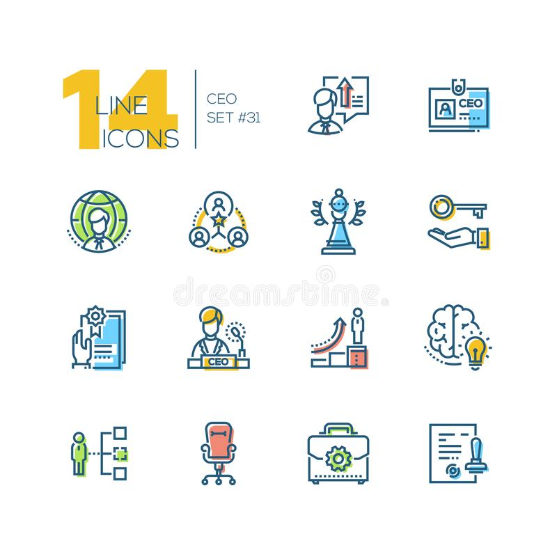 CEO - set of line design style icons. Isolated on white background. High quality minimalistic colorful pictograms, business metaphors. Hierarchy, career ladder