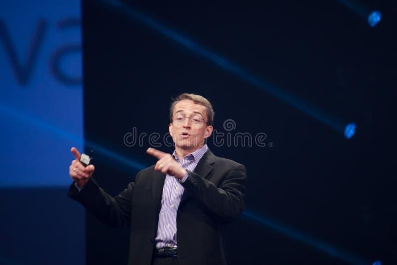 CEO VMware Pat Gelsinger makes speech at EMC World 2014. LAS VEGAS, NV – MAY 6, 2014: CEO VMware Pat Gelsinger makes speech at EMC World 2014 conference stock photos