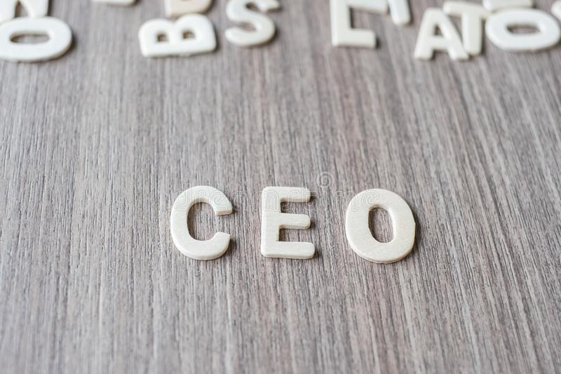 CEO word of wooden alphabet letters. Business and Idea. Concept stock photography