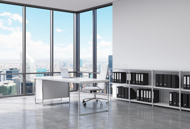 A CEO workplace in a modern corner panoramic office in New York city. A white desk with a laptop, white leather chair and a booksh royalty free illustration