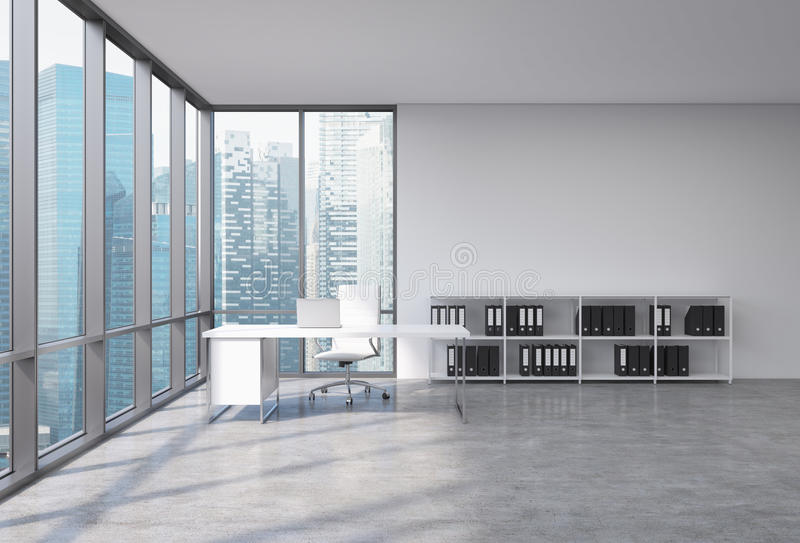 A CEO workplace in a modern corner panoramic office with Singapore city view. A white desk with a laptop, white leather chair and vector illustration
