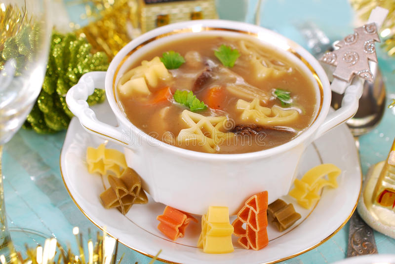 Cep soup with pasta for christmas stock images