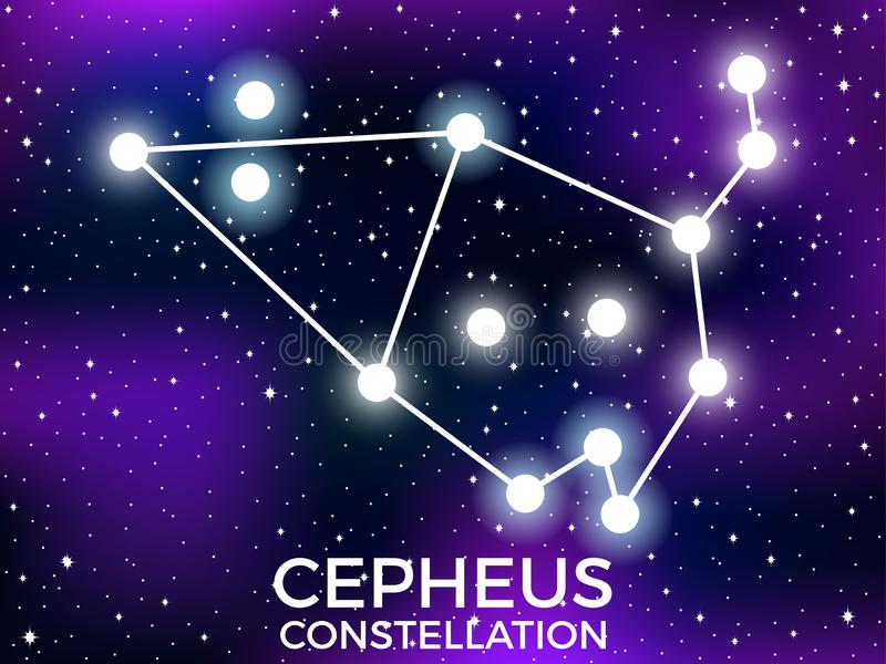 Cepheus constellation. Starry night sky. Zodiac sign. Cluster of stars and galaxies. Deep space. Vector. Illustration vector illustration