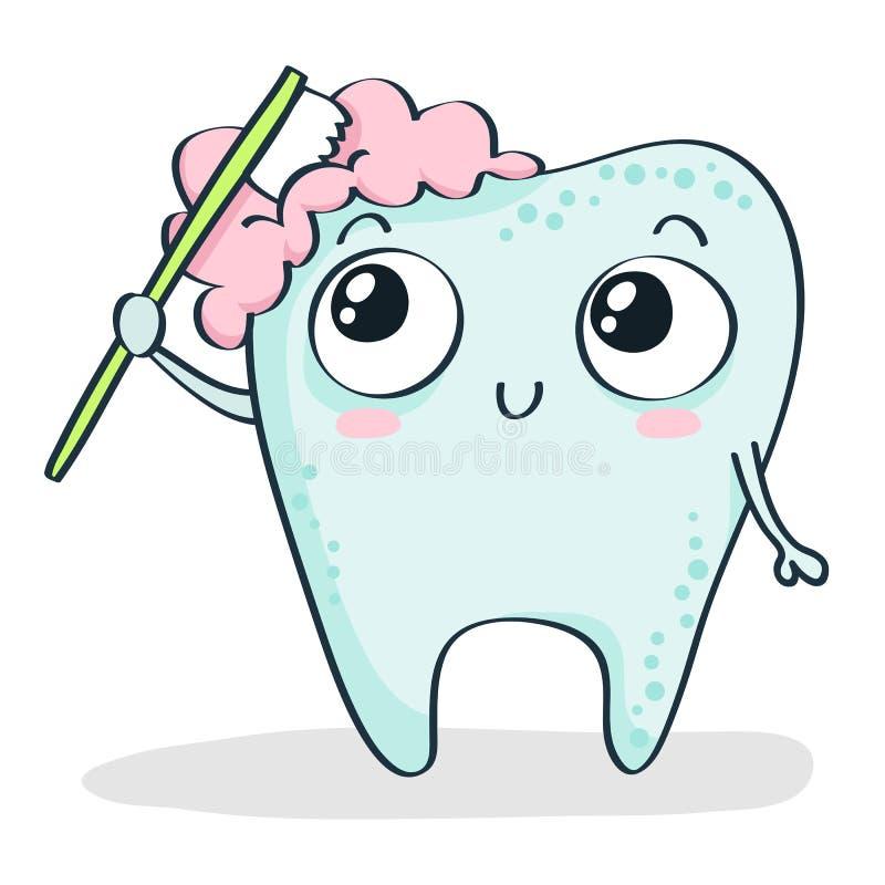 Cepillado de diente de la historieta en blanco ilustración del vector