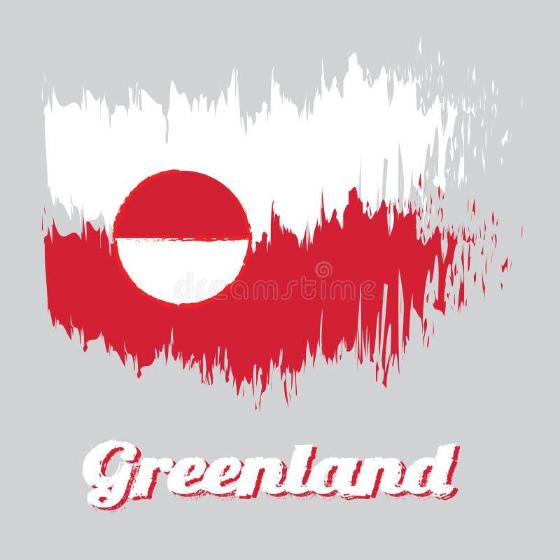 Cepille la bandera del color del estilo del color de Groenlandia, blanco y rojo con un disco counterchanged levemente excéntrico  ilustración del vector