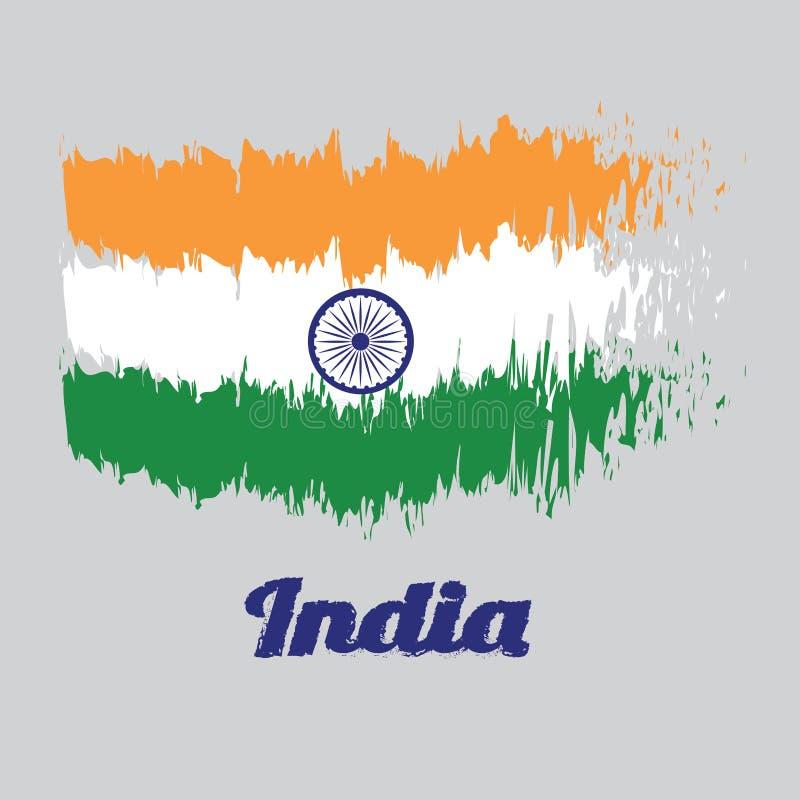 Cepille la bandera del color del estilo de la bandera de la India, tricolora del azafrán de la India, de blanco y de verde anaran libre illustration
