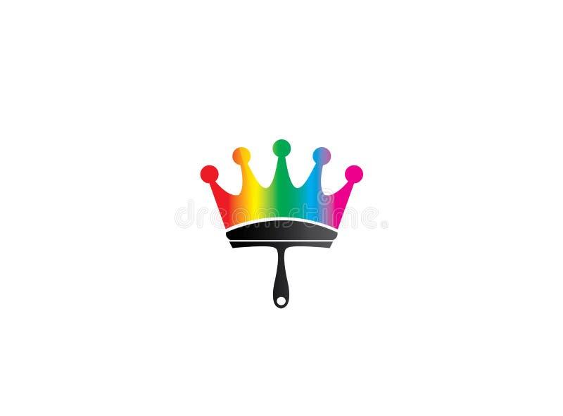 Cepille la pintura como símbolo de la corona con los multicolors para el diseño del logotipo stock de ilustración