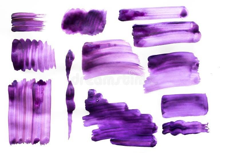 Cepille los movimientos con la pintura de la acuarela en los movimientos de papel del cepillo con la pintura de la acuarela en el ilustración del vector