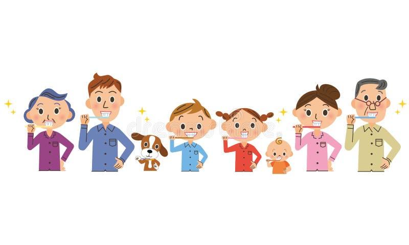 Cepille mis dientes en familias stock de ilustración