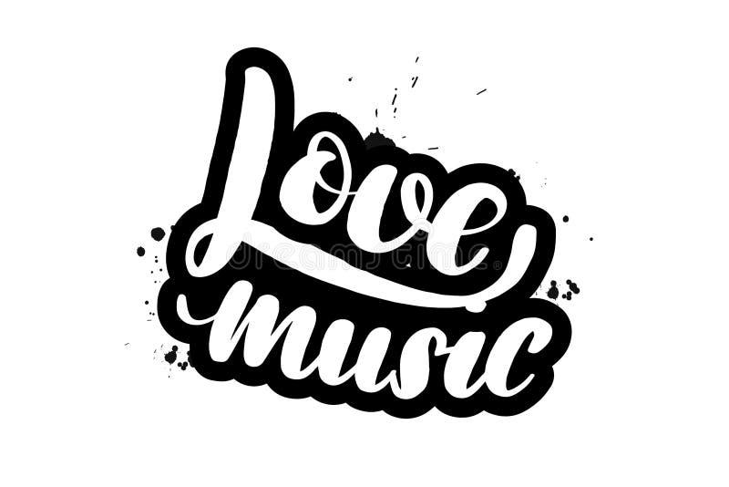 Cepille poner letras a música del amor ilustración del vector