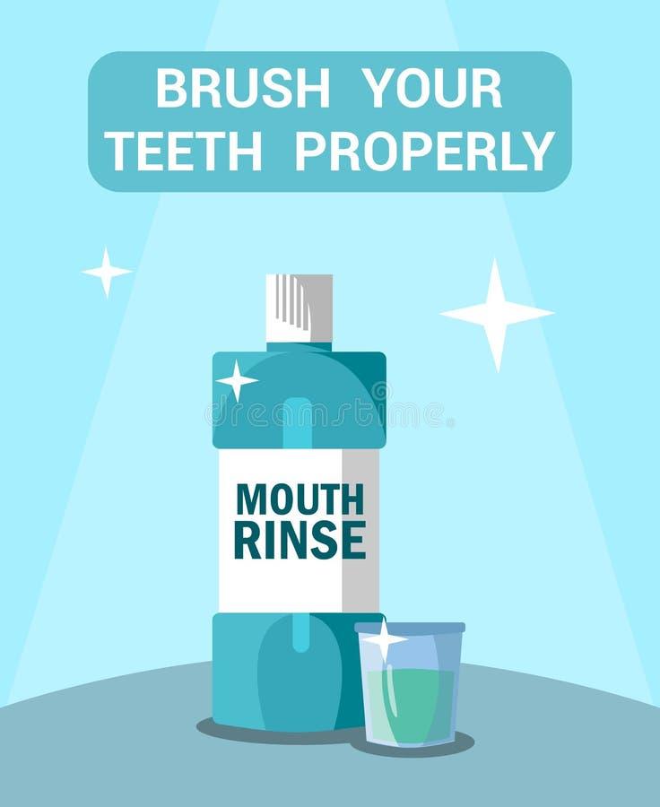 Cepille su cartel plano de motivación de los dientes correctamente ilustración del vector