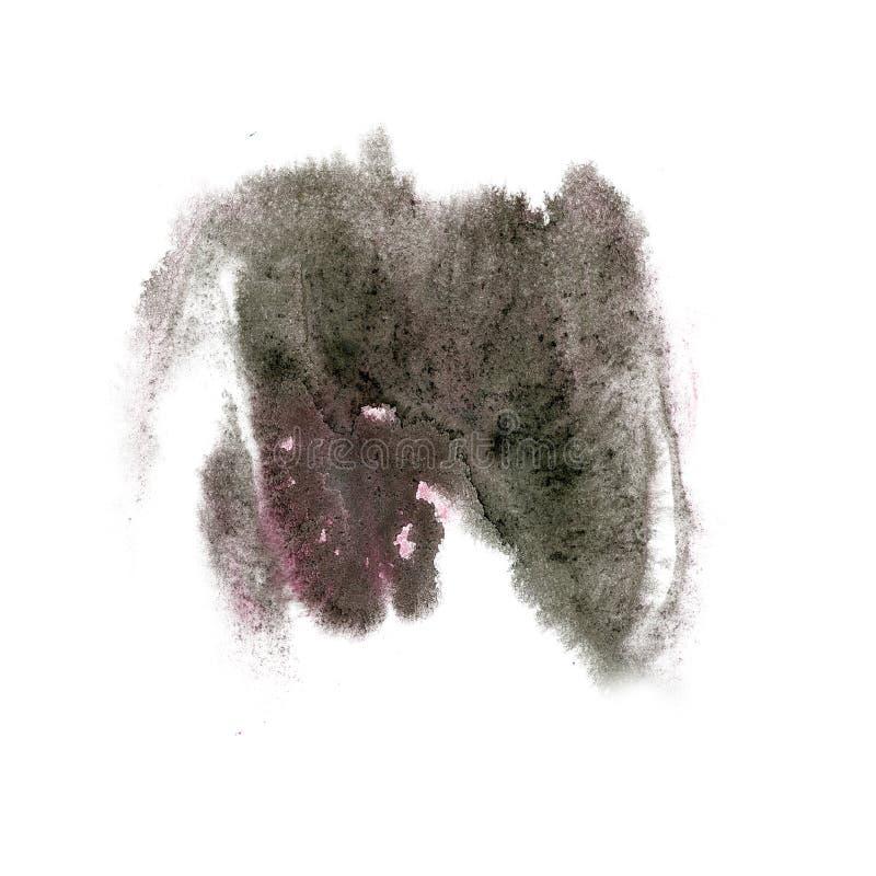 Cepillo aislado acuarela negra púrpura del aquarel del watercolour de la salpicadura del movimiento de la tinta del color del cha fotografía de archivo