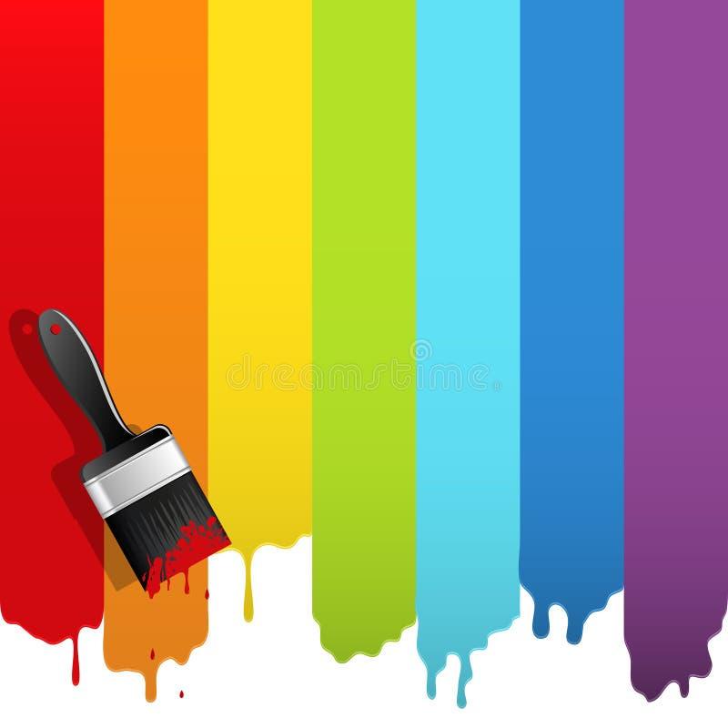 Cepillo con la pintura del arco iris stock de ilustración