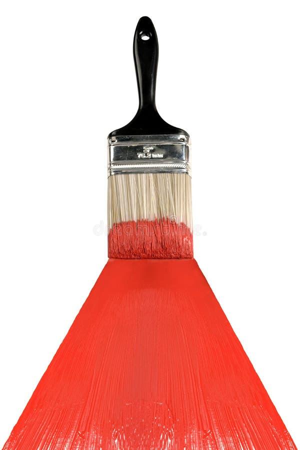 Cepillo con la pintura roja fotografía de archivo