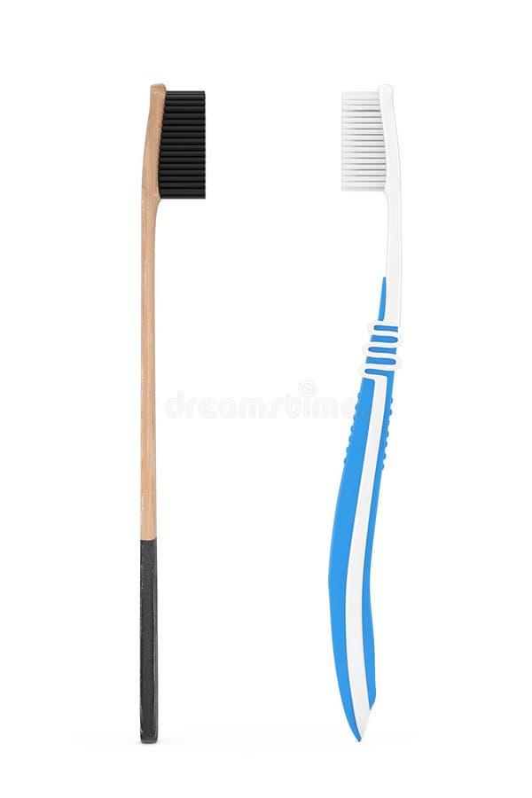 Cepillo de dientes de bambú de madera cerca del cepillo de dientes plástico simple representación 3d stock de ilustración